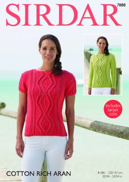 Long and Short Sleeved Sweaters in Sirdar Cotton Rich Aran - 7888  - PDF