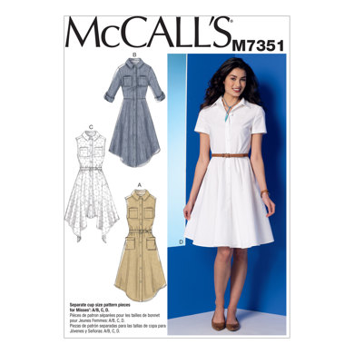 McCall's Misses' Shirtdresses with Pockets and Belt M7351 - Sewing Pattern