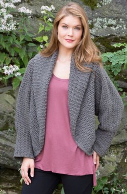 All Around Warm Jacket in Red Heart Shimmer Solids - LW4011