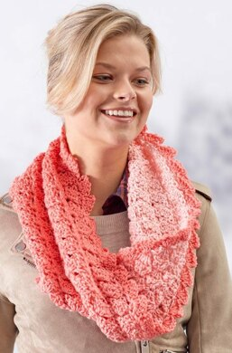 Sweet Shells Twisted Cowl in Red Heart Super Saver Ombre