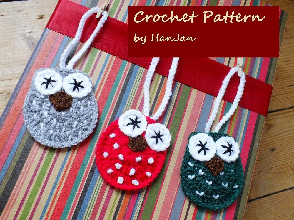 Crochet Christmas Owls Tree Decoration And Present Labels