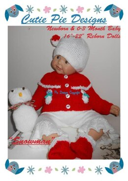 Christmas Snowman Newborn/ 0-3 Month Baby & Reborn Doll 5pc Set Cardigan Leggings Hat Bootees Toy Knitting Pattern