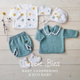 Flower Baby Jumper, Bloomers, Cardigan, Sandals & Bonnet in Debbie Bliss - DB310