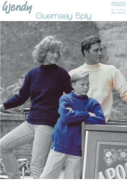 Family Guernsey Sweaters in Wendy Guernsey 5 Ply - 5520
