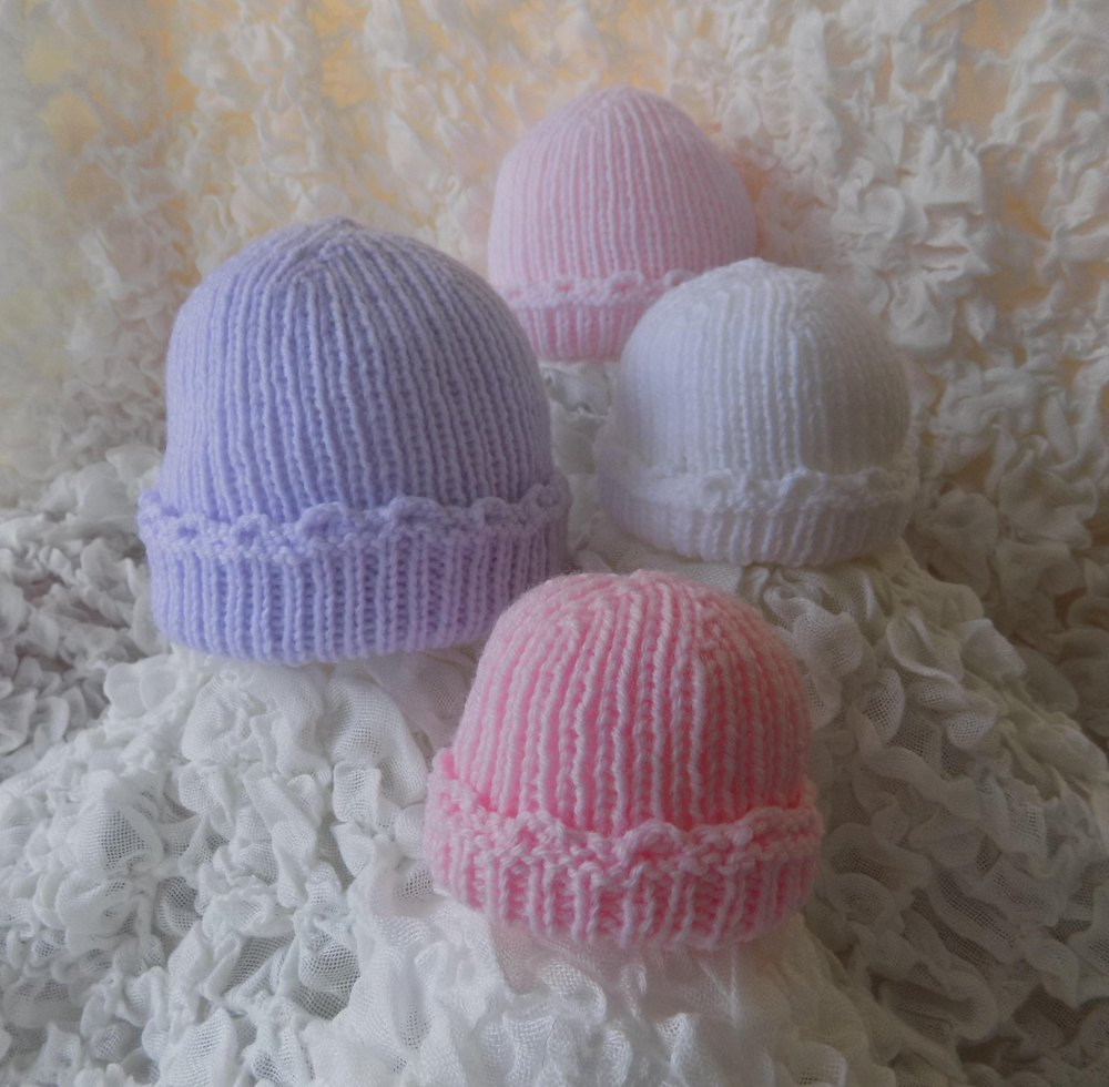 Premature To Newborn Baby Ribbed Hat Knitting Pattern By Angela Turner