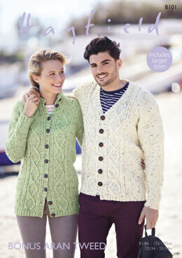 Cardigans in Hayfield Bonus Aran Tweed - 8101 - Downloadable PDF