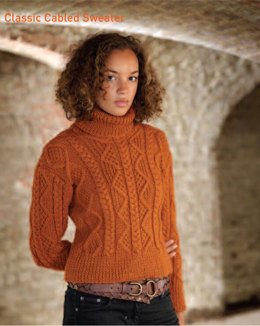 """Classic Cabled Jumper"" - Jumper Knitting Pattern For Women in Debbie Bliss Alpaca Silk Aran - OOT01"