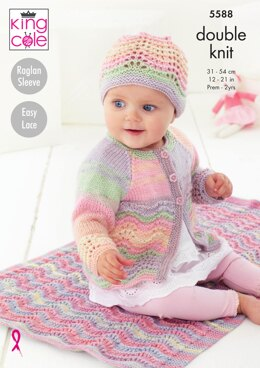 Blanket, Matinee Coat, Cardigan & Hat in King Cole Beaches DK - 5588 - Downloadable PDF