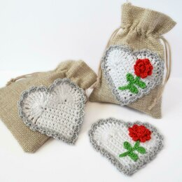 Crochet Heart Applique. Rose Embellishment. Floral Heart Topper