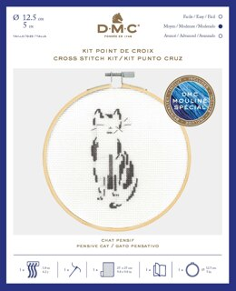 DMC Pensive Cat Cross Stitch Kit (with 5in hoop)