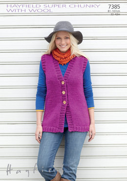 Women's Waistcoat in Hayfield Super Chunky with Wool - 7385 - Downloadable PDF