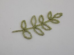 Wire Crocheted Leaf Branch with Beads