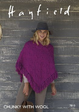 Poncho in Hayfield Chunky with Wool - 7810- Downloadable PDF