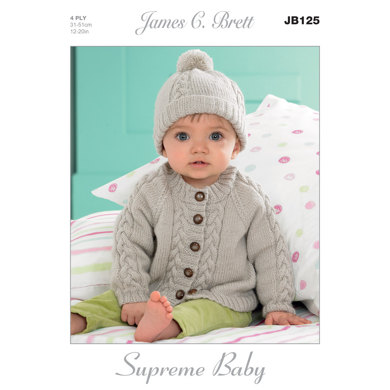 Hat and Cardigans in James C. Brett Supreme Baby 4 Ply - JB125