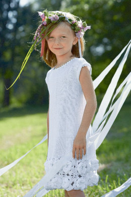 Girl's Dress with Crochet Flowers in Schachenmayr Catania and Catania Fine - S6931 - Downloadable PDF