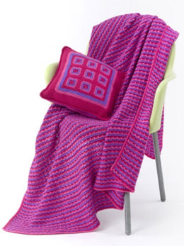Tween Pillow & Throw in Caron Simply Soft Brites - Downloadable PDF