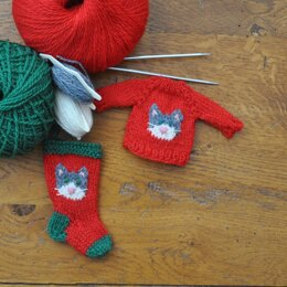 Cat Stocking & Sweater Ornaments
