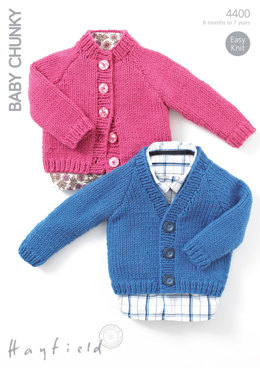 Round Neck and V Neck Cardigans in Hayfield Baby Chunky - 4400 - Downloadable PDF