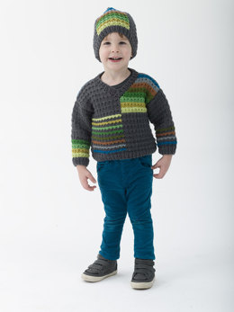 Cozy Colorblock Pullover And Hat in Lion Brand Vanna's Choice