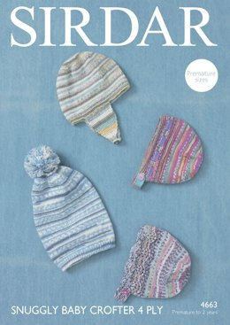 Hats in Sirdar Snuggly Baby Crofter 4 Ply - 4663- Downloadable PDF