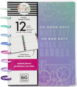 "Me & My Big Ideas Happy Planner 12-Month Undated Classic Planner 9.25""X7"" - Fitness, Jan - Dec"