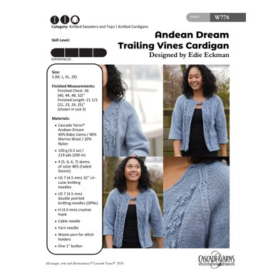 Trailing Vines Cardigan in Cascade Yarns Andean Dream - W778 - Downloadable PDF