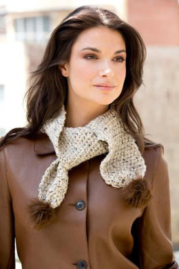 Skinny Pompoms Scarf in Lion Brand Vanna's Choice & Vanna's Choice Multi - L30184 - Downloadable PDF