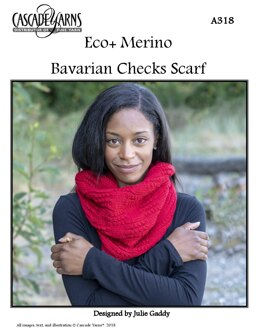 Bavarian Checks Scarf in Cascade Yarns Eco+ Merino - A318 - Downloadable PDF