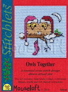 Mouseloft Christmas Card Stitchlet - Owls Together Cross Stitch Kit