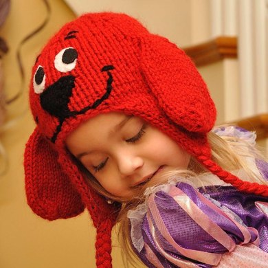 Big Red Dog Earflap Hat Size Fits 1 4 Years Knitting Pattern By