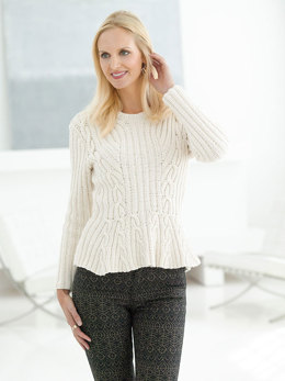Cable Peplum Pullover in Lion Brand Kitchen Cotton - L32208