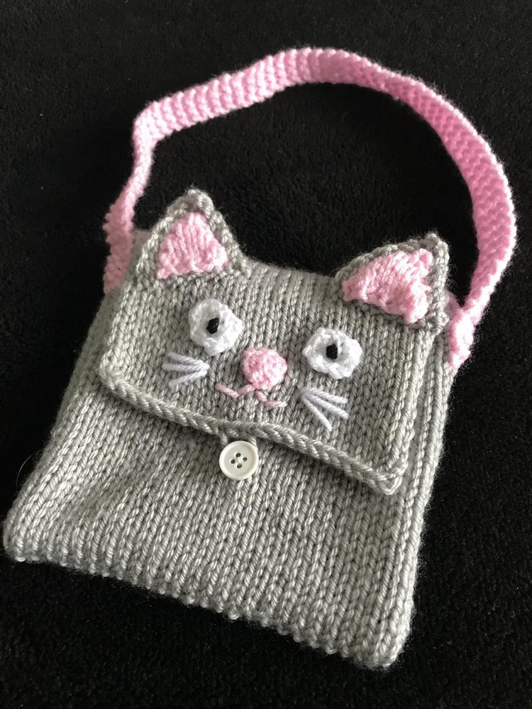 Kids Cat Bag Purse Knitting Pattern By Emma Whittle