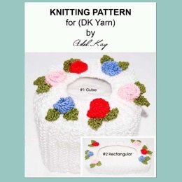 Abi Vintage Roses Style Cube and Rectangular Tissue Box Covers DK Yarn Knitting Pattern by Adel Kay