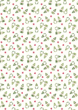 Lewis & Irene Hygge Christmas Scattered Tonttu on cream Cut to Length