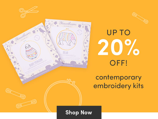 Up to 20 percent off contemporary embroidery kits