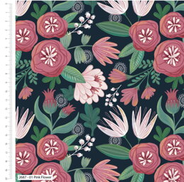 Craft Cotton Company Garden Party - Pink Flower