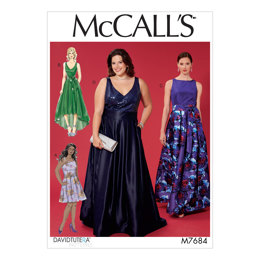 McCall's Misses'/Women's Sleeveless Dresses with Neckline and Hem Variations M7684 - Sewing Pattern