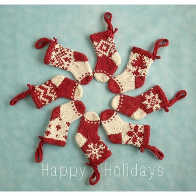 Mini Christmas stocking ornament Knitting pattern by Julie Williams