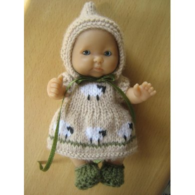 "5"" Berenguer Sheep Dress Pattern"