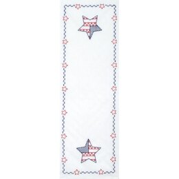 Jack Dempsey Stamped Table Runner Scarf - Independence Day - 15in x 42in