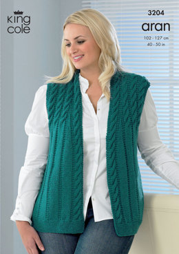 Jacket and Waistcoat in King Cole Merino Blend Aran - 3204