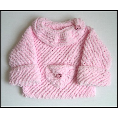 Girl's Pink Sweater with Pocket (allsquareknits)