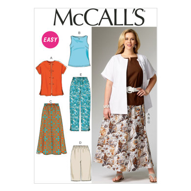 McCall's Women's Shirt, Top, Skirt and Pants M6970 - Sewing Pattern