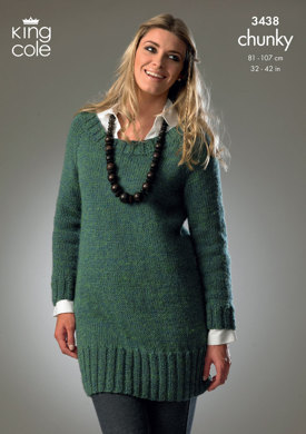 Sweater & Cardigan in King Cole Big Value Chunky - 3438