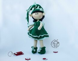 Elf  doll knitted flat