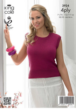 Ladies' Cardigan and Top in King Cole Bamboo Cotton 4 Ply - 3924