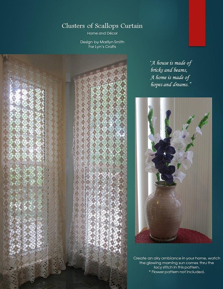 clusters of scallop curtain crochet pattern by