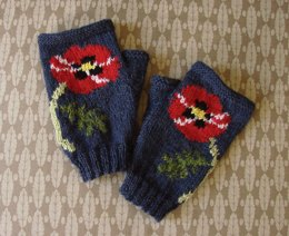 Poppy fingerless mitts/gloves