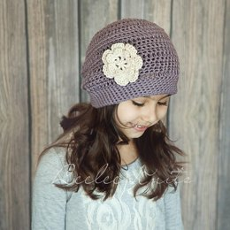 Girls Slightly Slouchy Crochet Hat Pattern