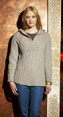 Hooded Cabled Tunic in Debbie Bliss Blue Faced Leicester Aran - FZ07